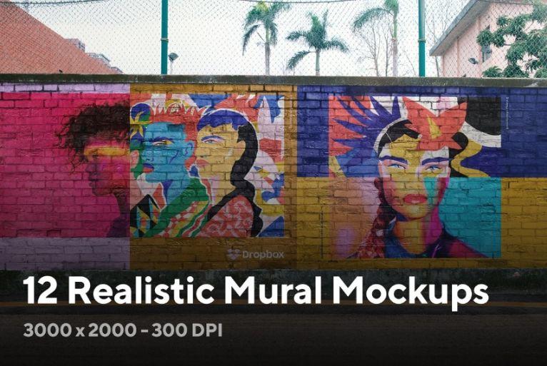 Realistic Mural Mockup Bundle