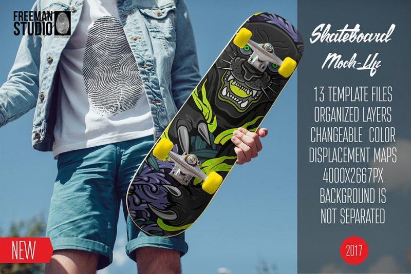 Skateboard in Hand Mockup PSD