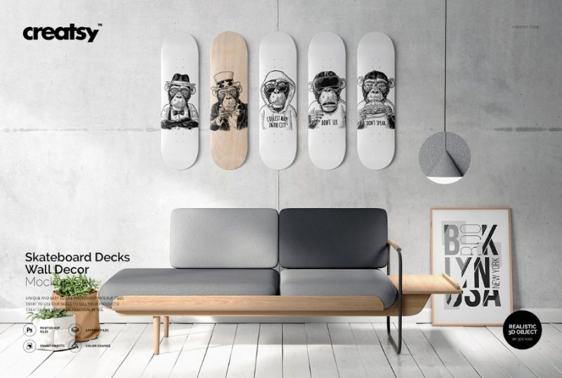 Skateboards Deck Mockup PSD