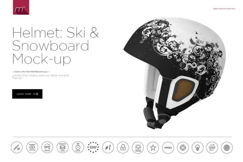 Snowboard Helmet PSD Mockup