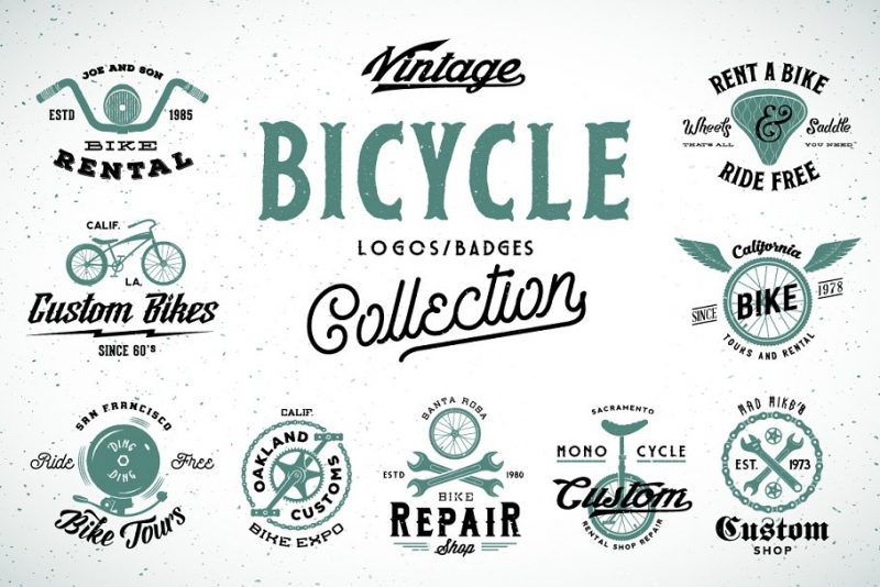 Vintage Bicycle Logo Designs Set