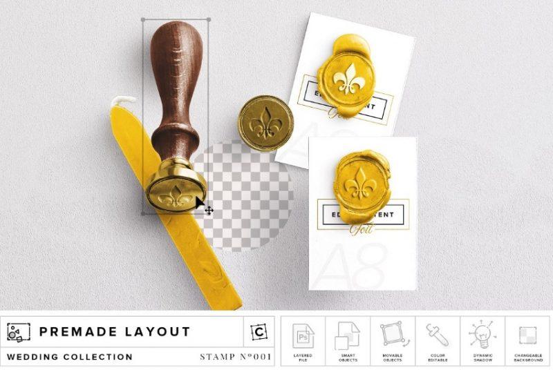 Wax Stamp Mockup PSD