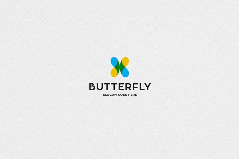 X Shape Butterfly Logo Design