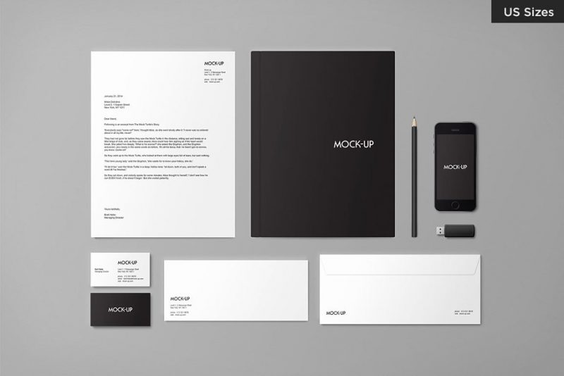 US Size Stationary Mockups
