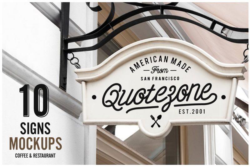 10 Restaurant Sign Mockups