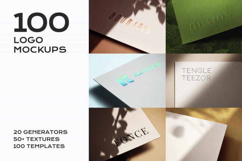 100 Logo Mockups Bundle