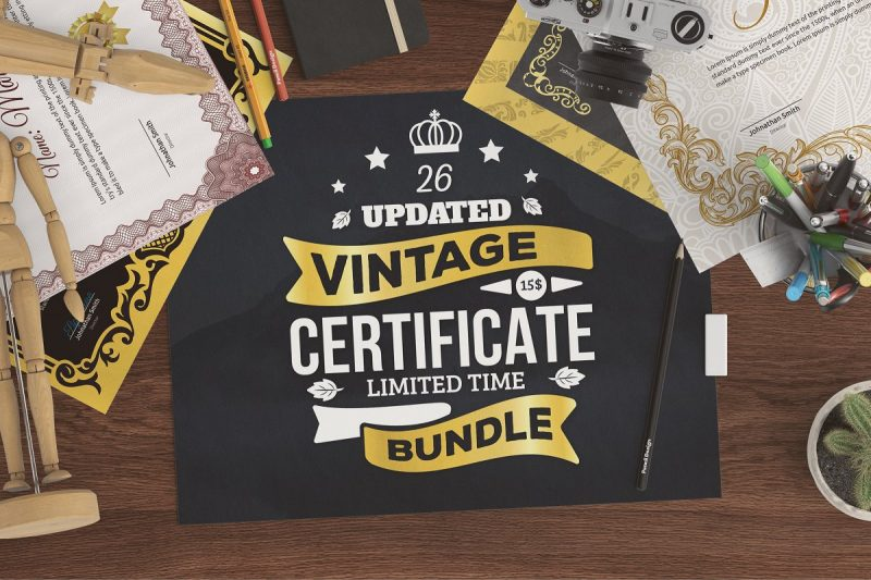 26 Vintage Certificates Template Bundle