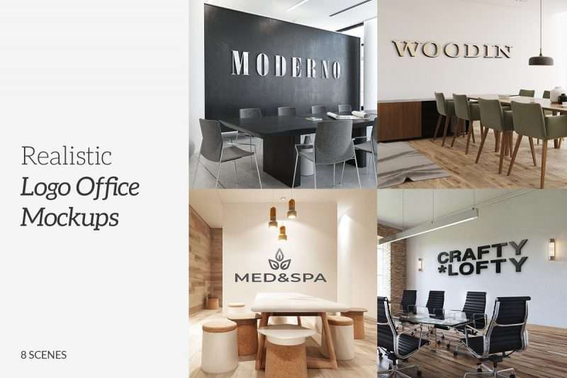3D Office Logo Mockups