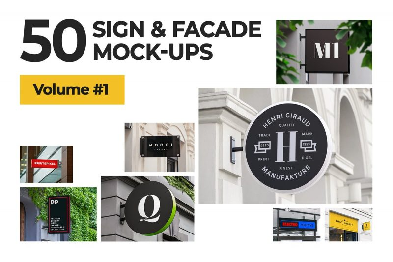 50 Signboard Logo Mockup PSD