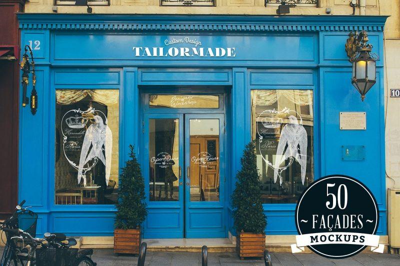 50 Store Facade Mockups PSD