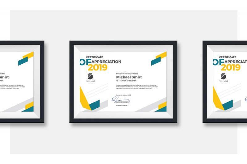 Abstract Certificate Template PSD and Ai