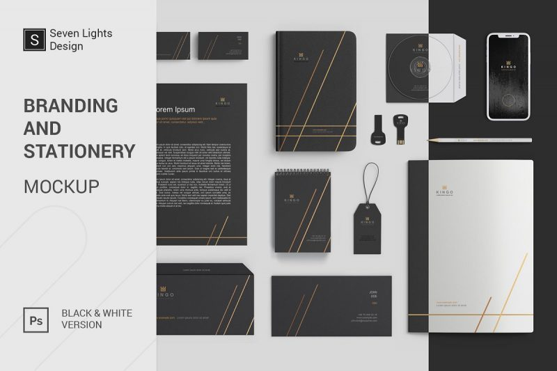 Black and White Stationary Mockups