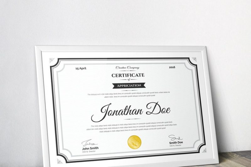 Clean Certificate of Appreciation Template