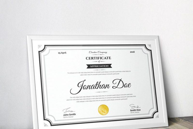 Clean Certificate of Appreciation Template