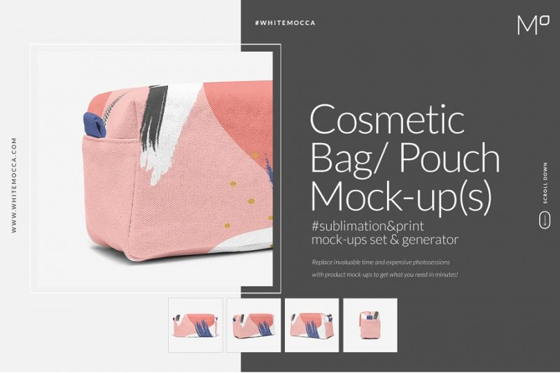 Cosmetic Bag Pouch Mockup PSD