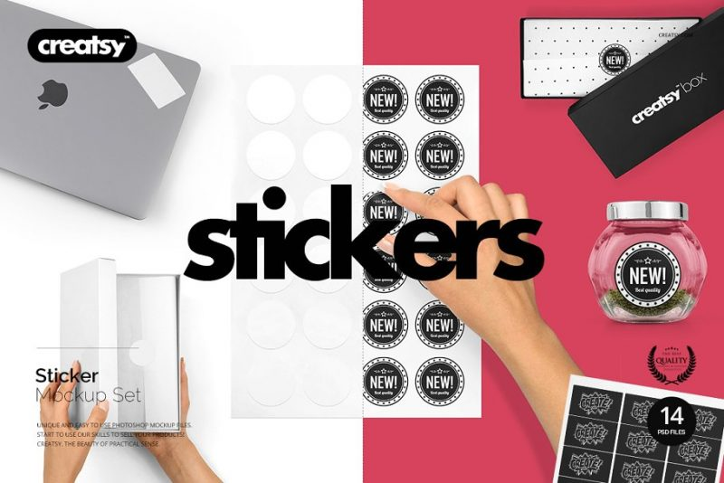 Editable Sticker Mockups Set