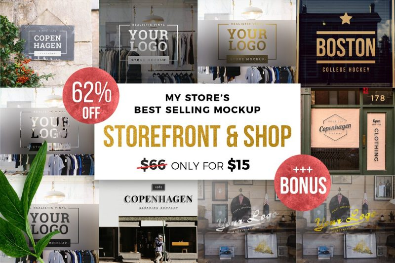 Editable Store Front Mockup Bundle