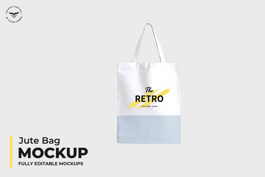 Fully Editable Jute Bag Mockup