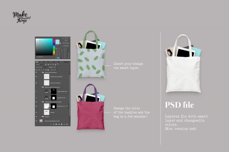 Isolated Canvas Bag Mockup PSD