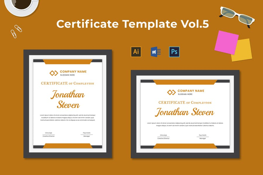 PSD, Ai and Word Certificate Templates