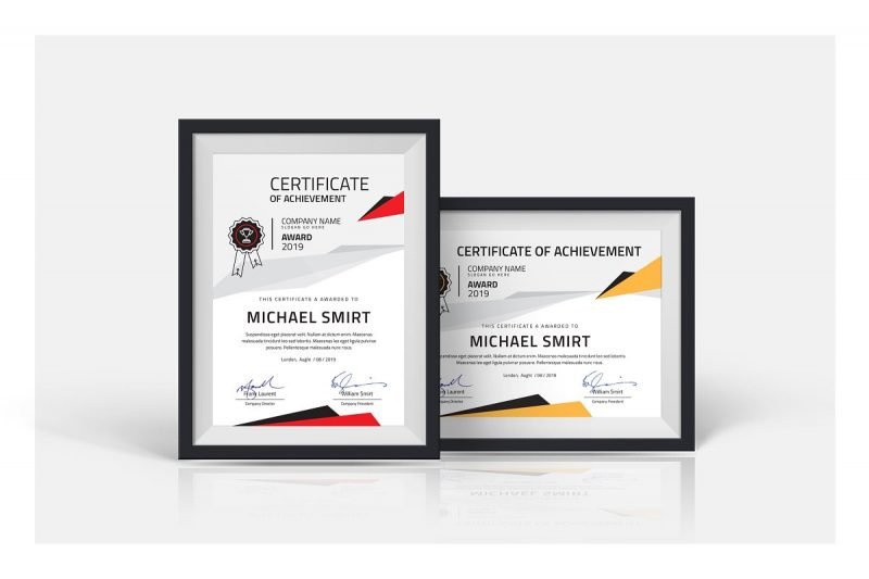 PSD and InDesign Cerificate of Achievement Template