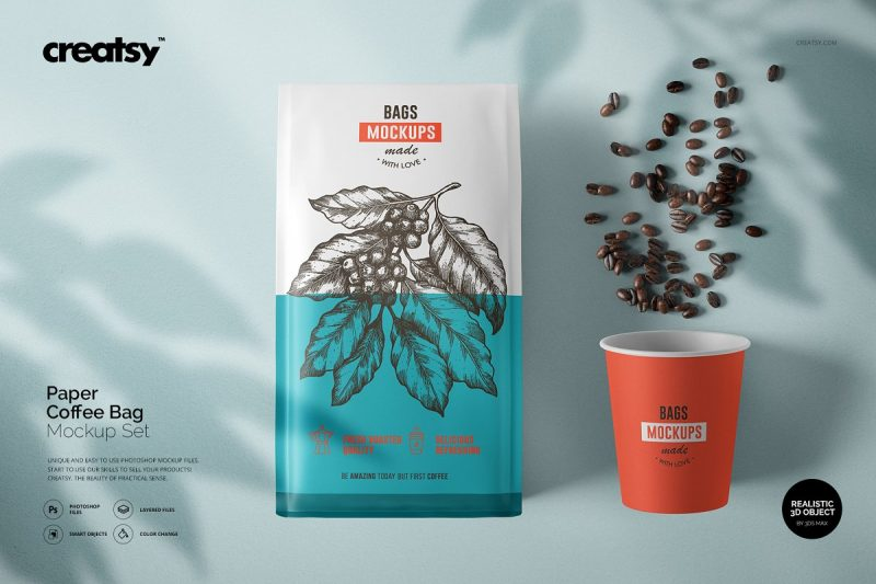 Paper Coffee Bag Mockup PSD