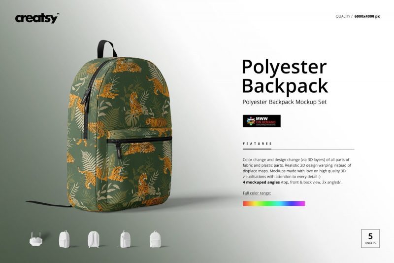 Polyester Backpack Mockup PSD
