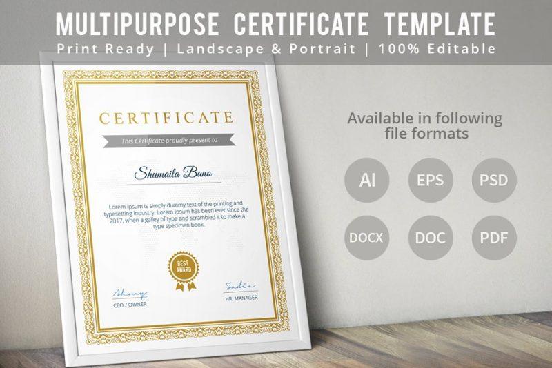 Print Ready Diploma Certificate Tempalate