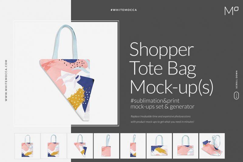 Shopper Tote Tag Mockups PSD