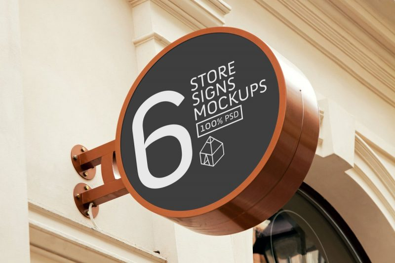 Store Signs Mockup PSD