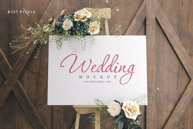 Wedding Sign Mockup PSD