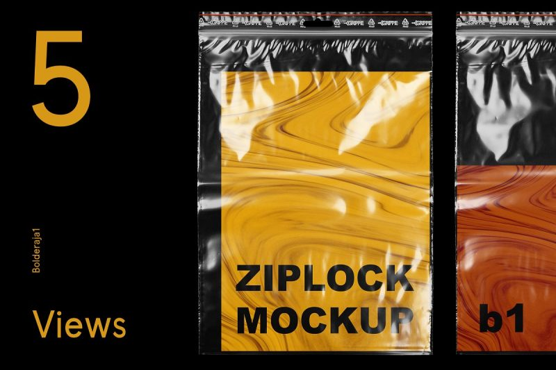 Ziplock Bag Mockup PSD Design