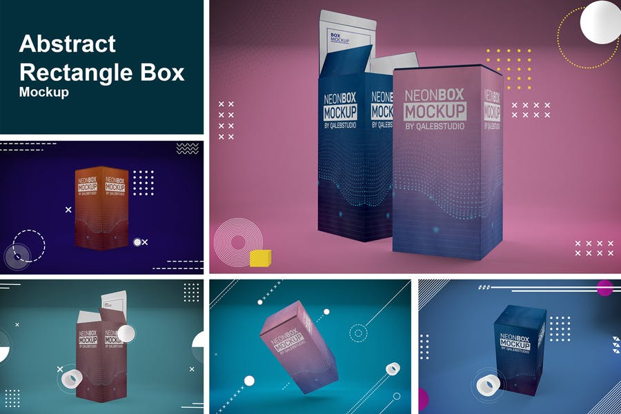 Abstract Rectangle Box Mockup PSD