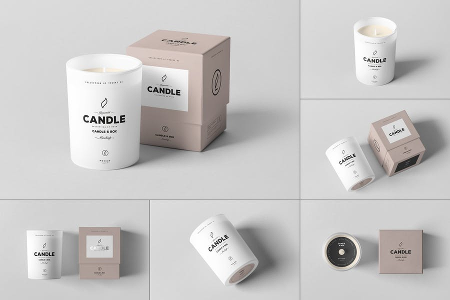 Candle and Packaging Box Mockup