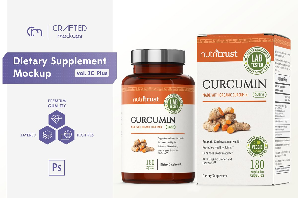 Dietary Supplement Packaging Mockup
