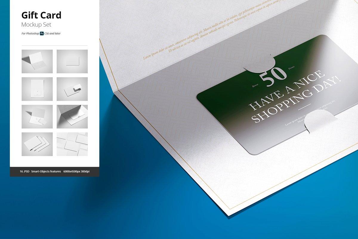 Elegant Gift Card Mockups PSD