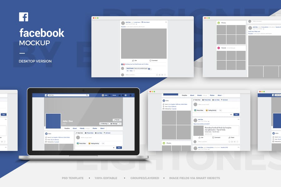 Facebook Desktop Version Mockup