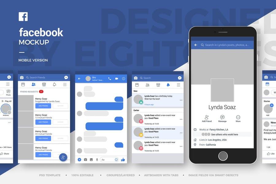 Facebook Mobile Version Mockup PSD