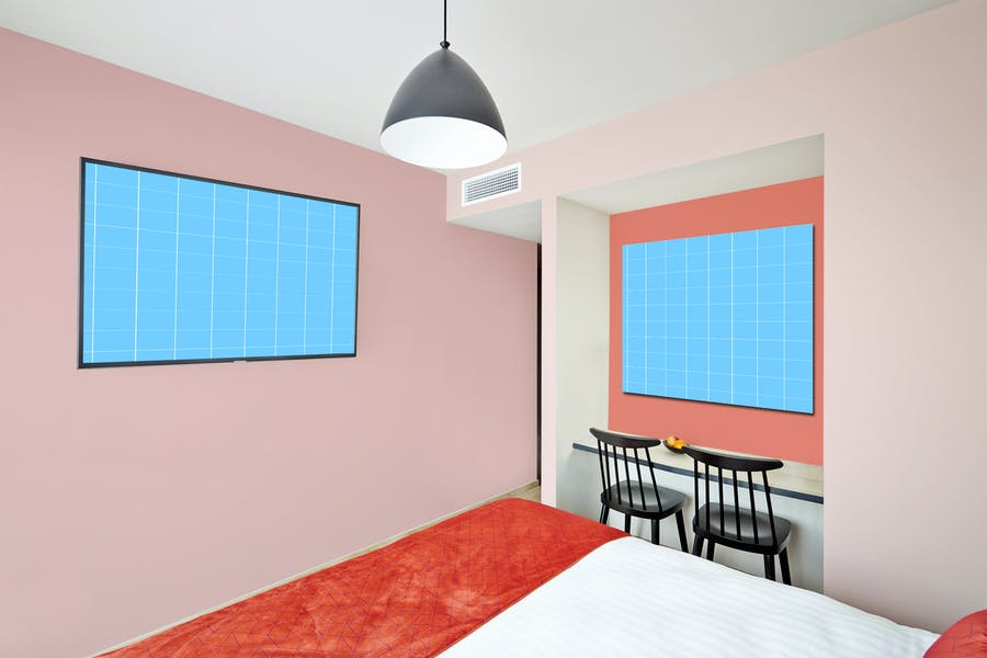 Hotel Room Branding Mockup PSD
