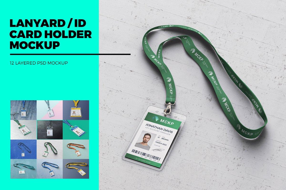 ID Card Holder Mockup PSD