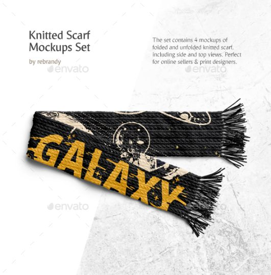 Knitted Scarf Mockup PSD
