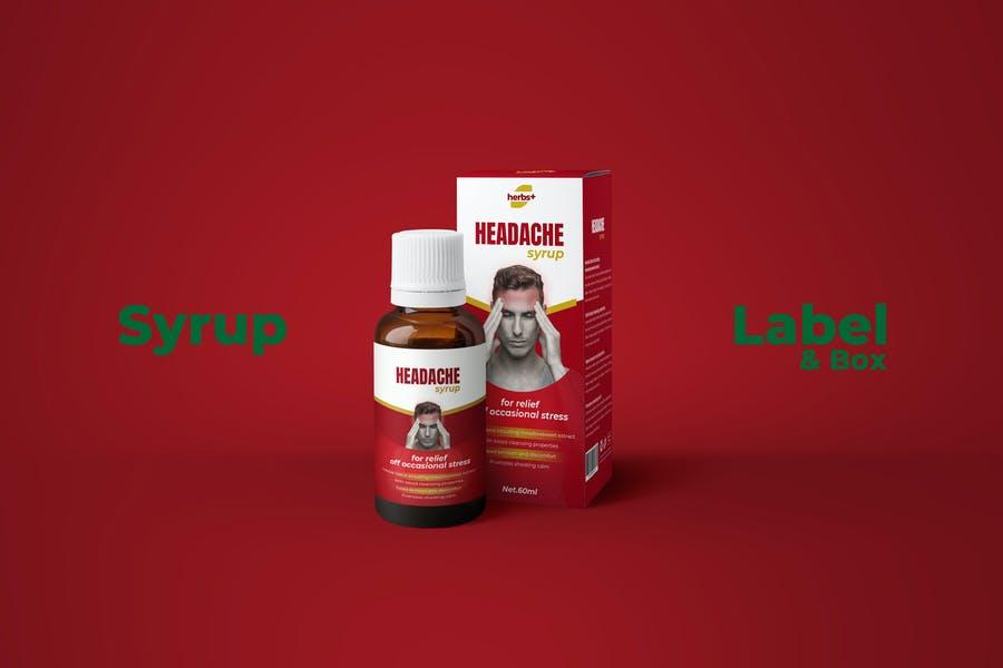 Medical Syrup Box Branding Mockup