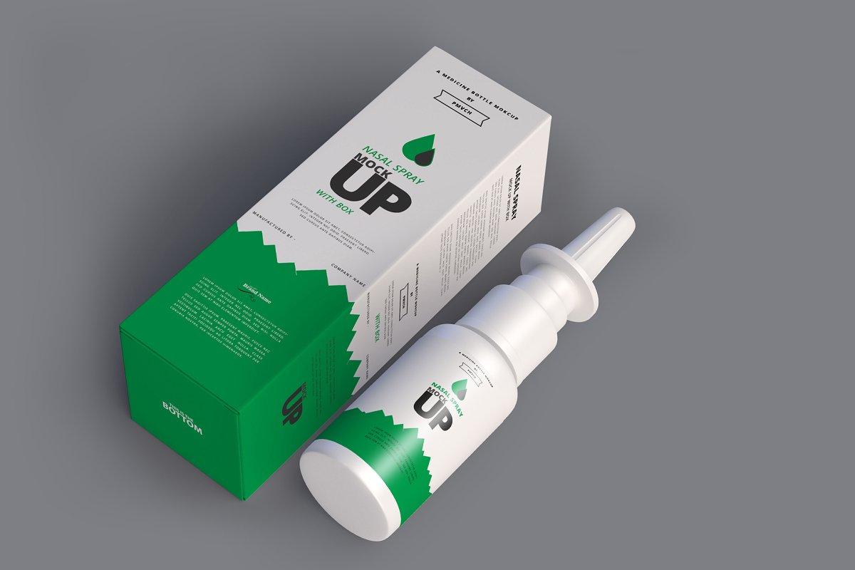 Nasal Spray Packaging Mockup PSD