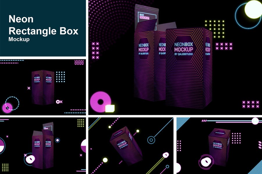 Neon Rectangle Box Mockup PSD