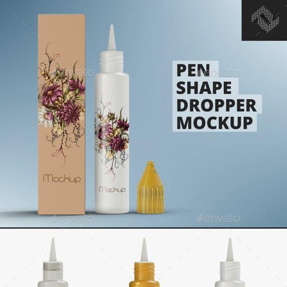 Pen Shape Dropper Mockup PSD