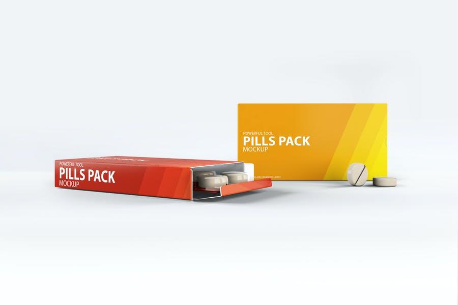 Photo Realistic Pills Box Mockups PSD