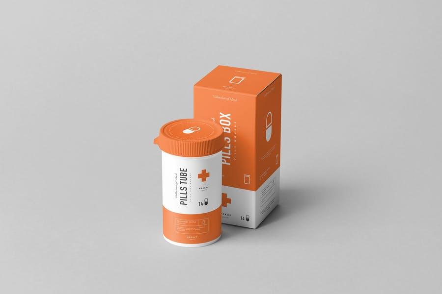 Pills Box and Tube Mockup PSD