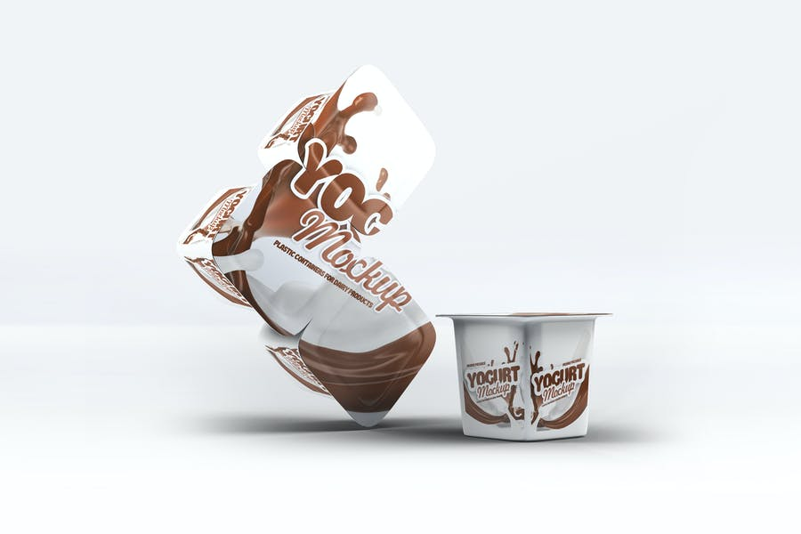 Plastic Container Mockup for Yogurt
