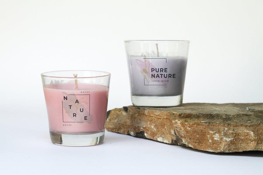 Pure Glass Candle Mockup PSD