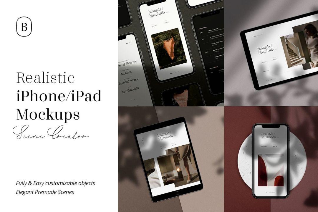 Realistic iPhone and iPad Mockup PSD